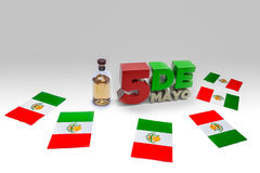 Cinco De Mayo with Flags and Tequila. Text of 5 De Mayo next to a tequlia bottle surrounded by Mexican flags Royalty Free Stock Photography