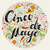 Cinco De Mayo freehand lettering and decorative elements. Hand drawn celebration phrase. Doodle style handwritten greeting with many Mexican attributes. Vector Stock Image