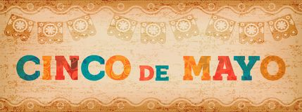 Cinco de mayo fun mexican typography web banner. Happy Cinco de Mayo illustration with colorful fun typography quote and vintage texture. Traditional mexican stock illustration