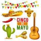 Cinco de Mayo-geplaatste ontwerpelementen