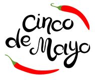 Cinco de Mayo glittering lettering design. Hand drawn Inscription and two chili peppers royalty free illustration