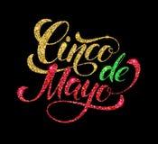 Cinco de Mayo glittering lettering design. Royalty Free Stock Image