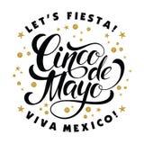 Cinco de Mayo glittering lettering design. Stock Photo