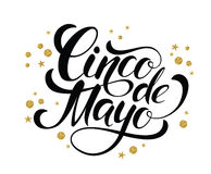Cinco de Mayo glittering lettering design. Royalty Free Stock Photography