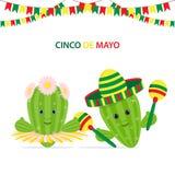 Cinco De Mayo, green cactus with maracas,sombrero and cactus wit royalty free illustration