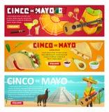 Cinco de Mayo greeting banner of mexican holiday. Cinco de Mayo greeting banner with mexican holiday food and fiesta party symbols. Spring festival sombrero Royalty Free Stock Photos