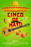 Cinco de Mayo mexican party greeting banner design. Cinco de Mayo greeting banner with mexican holiday symbols. Fiesta party sombrero, maracas and guitar, chili Royalty Free Stock Photography