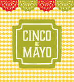 Cinco de Mayo - Greeting card. Cinco de Mayo card that has an emblem and a traditional mexican paper cut garland with a geometric background