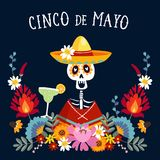 Cinco de Mayo greeting card, invitation with Mexican skeleton with sombrero hat drinking margarita cocktail, chili. Peppers and decorative folklore flowers stock illustration