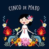Cinco de Mayo greeting card, invitation with Mexican woman drinking margarita cocktail, chili peppers and decorative. Folklore flowers. Ornamental floral frame stock illustration
