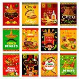 Cinco de Mayo greeting card for mexican festival. Cinco de Mayo greeting card set for mexican holiday design. Sombrero, maracas and guitar, fiesta party food and Stock Image