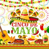 Cinco de Mayo fiesta Mexican vector greeting card. Cinco de Mayo greeting card for Mexican holiday or fiesta party celebration of jalapeno pepper, sombrero and Royalty Free Stock Photos