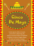 Cinco de Mayo greeting card, template for flyer, poster, invitation. Mexican celebration with traditional symbols. Vector illustration Stock Photos