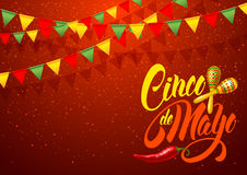 Cinco de Mayo greeting. Cinco de Mayo festive greeting card design template with calligraphy lettering, red pepper jalapeno and maracas - symbols of holiday