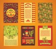 Cinco De Mayo Großer Satz Vektorschablonen mit traditionellem Mexi Stockfotos