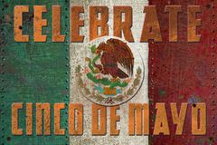 Cinco De Mayo Grunge. Sign Mexican Flag Vintage Rustic Metal Tin Steel Retro Distressed royalty free illustration