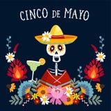 Cinco de Mayo hälsningkort, inbjudan med det mexicanska skelettet med sombrerohatten som dricker margaritacoctailen, chili stock illustrationer
