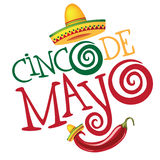Cinco De Mayo hand dragen bokstäverdesign vektor illustrationer