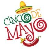 Cinco De Mayo hand dragen bokstäverdesign Royaltyfria Bilder