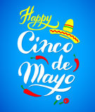 Cinco De Mayo hand drawn lettering Stock Photo