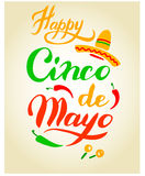 Cinco De Mayo hand drawn lettering Stock Photos