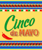 Cinco De Mayo. Hand drawn lettering design on a yellow background vector illustration