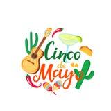 Cinco de Mayo hand drawn lettering. 5th of May. Festive mexican banner. Guitar, margarita, sombrero, maracas.  royalty free illustration