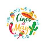 Cinco de Mayo. Hand drawn lettering. 5th of May. Festive mexican banner. Sombrero, Maracas, Cactus, Chili Pepper.  stock illustration