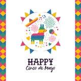 Cinco de mayo hand drawn pinata greeting card. Happy Cinco de Mayo greeting card illustration. Festive mexican hand drawn decoration includes cute donkey pinata