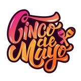 Cinco DE Mayo Hand getrokken die het van letters voorzien uitdrukking op wit wordt geïsoleerd
