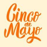 Cinco DE Mayo Hand getrokken die het van letters voorzien uitdrukking op witte bac wordt geïsoleerd