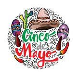 Cinco De Mayo. Cinco De Mayo, Hand lettering poster stock illustration