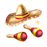 Cinco de Mayo hat Sombrero and Mexican maracas. Hand drawn watercolor illustration, isolated on white background. Cinco de Mayo hat Sombrero and Mexican maracas