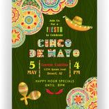 Cinco De Mayo-het malplaatje van de partijaffiche stock illustratie