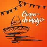Cinco DE Mayo het van letters voorzien Met de hand gemaakte kalligrafie uitnodiging, deel