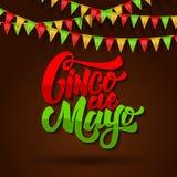 Cinco DE Mayo Het van letters voorzien uitdrukking op achtergrond met Carnaval-vlaggen Ontwerpelement voor affiche, vlieger, kaar