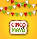 Cinco De Mayo Holiday Bunting Background Manifesto messicano Fotografia Stock Libera da Diritti