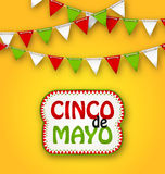 Cinco De Mayo Holiday Bunting Background. Mexican Poster royalty free illustration