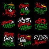 Cinco de Mayo holiday calligraphy lettering design. Cinco de Mayo hand drawn calligraphy lettering for mexican holiday greeting card. Cinco de Mayo fiesta party Stock Photos
