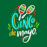 Cinco De Mayo Holiday Hand het getrokken vector van letters voorzien Ge?soleerdc op groene achtergrond royalty-vrije illustratie