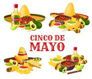 Cinco de Mayo holiday icon of mexican food, drink. Cinco de Mayo holiday icon set with fiesta party food and drink. Mexican festival sombrero with chili pepper Royalty Free Stock Image
