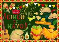 Cinco de Mayo holiday Mexican guitar and food. Cinco de Mayo fiesta party sombrero, guitar and mariachi costumes vector greeting card of Mexican holiday. Tequila stock illustration