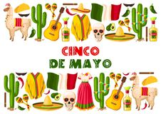 Cinco de Mayo holiday Mexican vector greeting card Royalty Free Stock Images