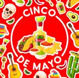 Cinco de Mayo card with mexican fiesta party food. Cinco de Mayo holiday poster with mexican fiesta party food and drink. Chili pepper, avocado guacamole and Stock Images