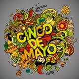 Cinco DE Mayo Illustratie van de beeldverhaal de vectorhand getrokken Krabbel Royalty-vrije Stock Afbeeldingen