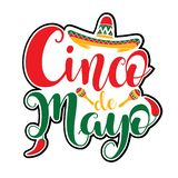 Cinco de Mayo illustration. Colorful red, yellow and green text graphics Cinco de Mayo illustrated with red chili peppers, sombrero and castanets royalty free illustration