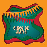 Cinco De Mayo-Illustration in der bunten Plastikart 3d perfekt für die Werbung, Plakat, Mitteilung, Einladung, Partei Lizenzfreie Stockfotografie