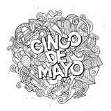 cinco de mayo Illustration för klotter för tecknad filmvektor hand dragen Arkivbild