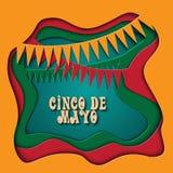 Cinco De Mayo illustration i plast- färgrik stil som 3d är perfekt för annonsering, affisch, meddelande, inbjudan, parti Royaltyfri Fotografi