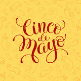 Cinco de Mayo illustration. With text. Mexican calligraphic letterining hand drawn on seamless chili background